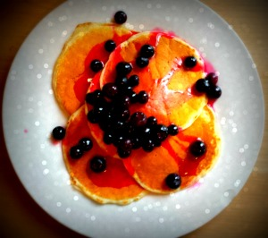 pancakes with lemon and blueberry  syrup